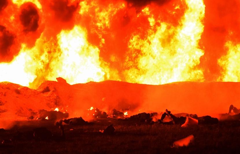 اندلاع حريق بعدد من المحلات بنهج إيطاليا بالعاصمة
