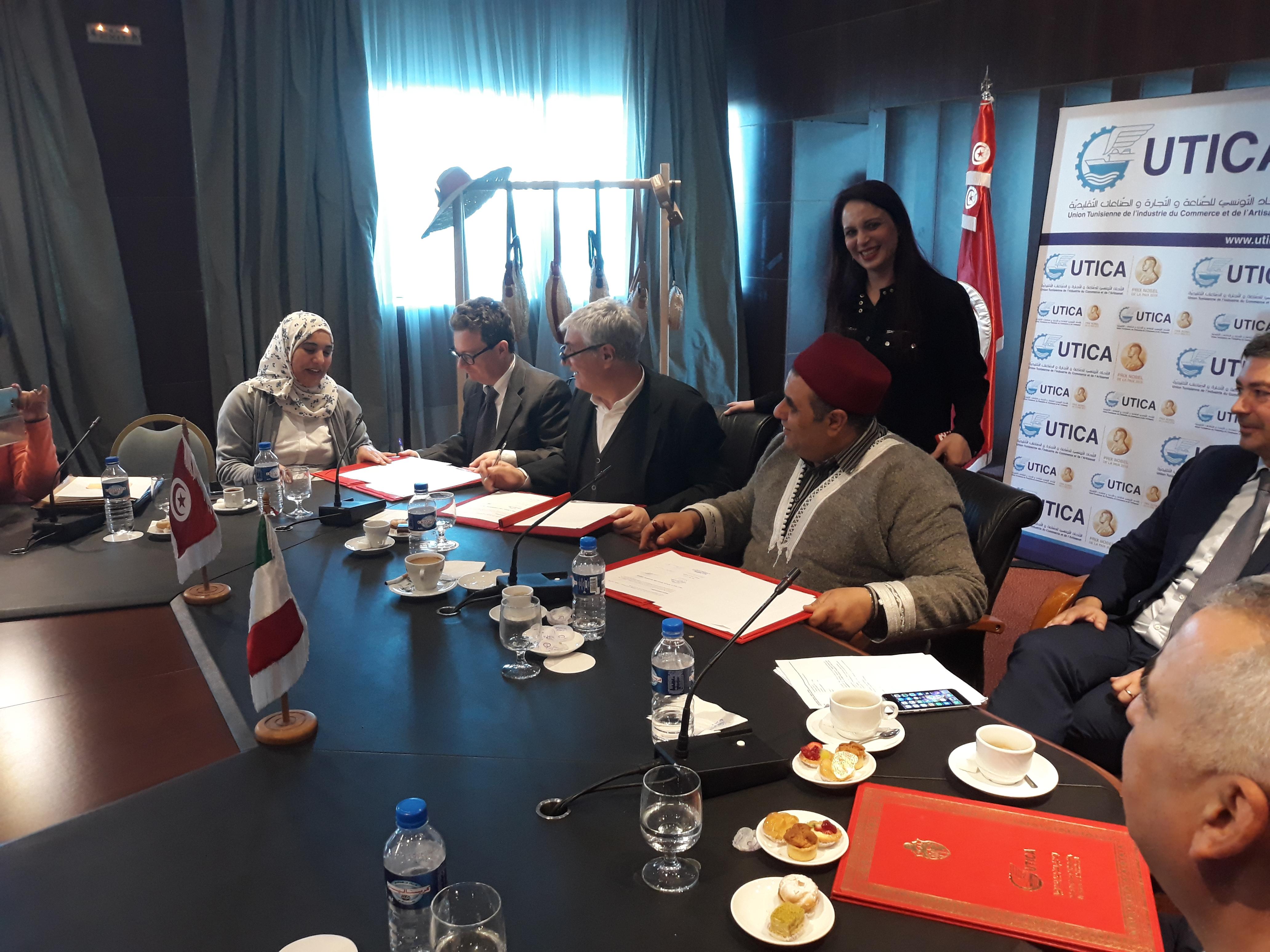 توقيع اتفاق بين جامعة الصناعات التقليدية وشركة GEFI ووكالة EUROMED