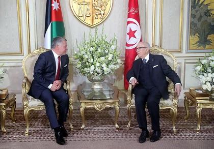 ملك الأردن يصل تونس في زيارة رسمية