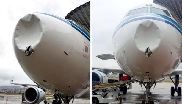 طائرة كويتية تصطدم بكتلة ثلجية في الجو