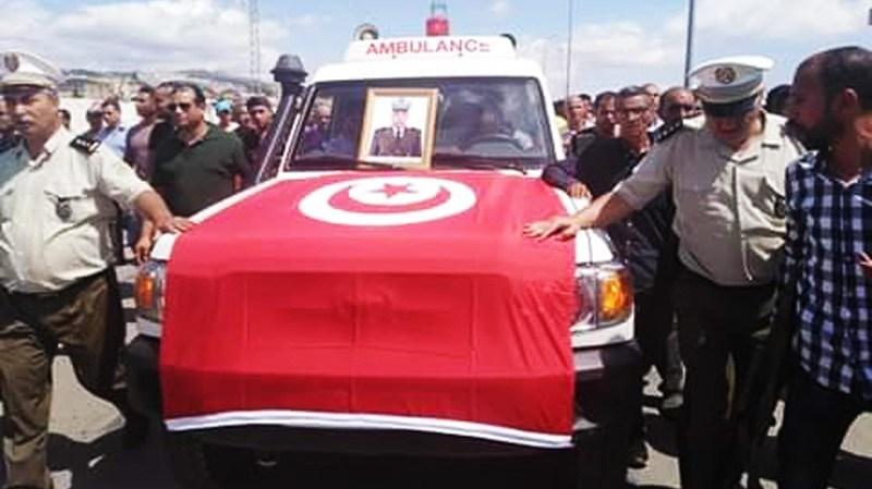 تشييع جنازة الشهيد نجيب الشارني الوكيل الاول بالحرس الوطني