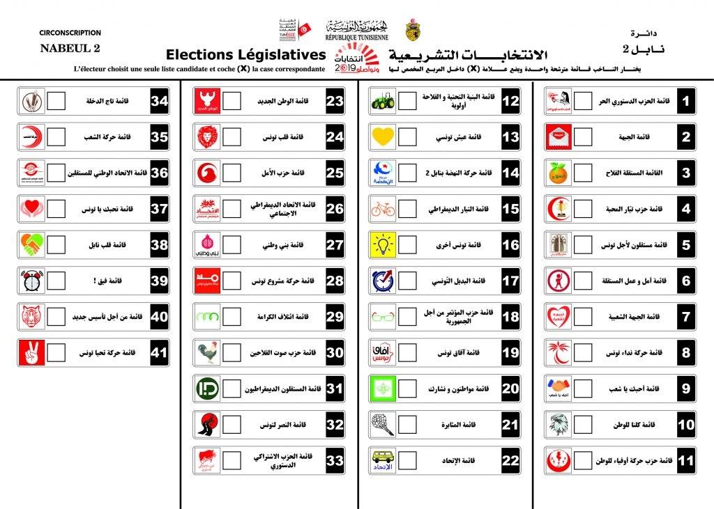 نموذج ورقة الاقتراع للانتخابات التشريعية