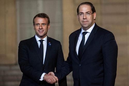 يوسف الشاهد يلتقي الرئيس الفرنسي ماكرون