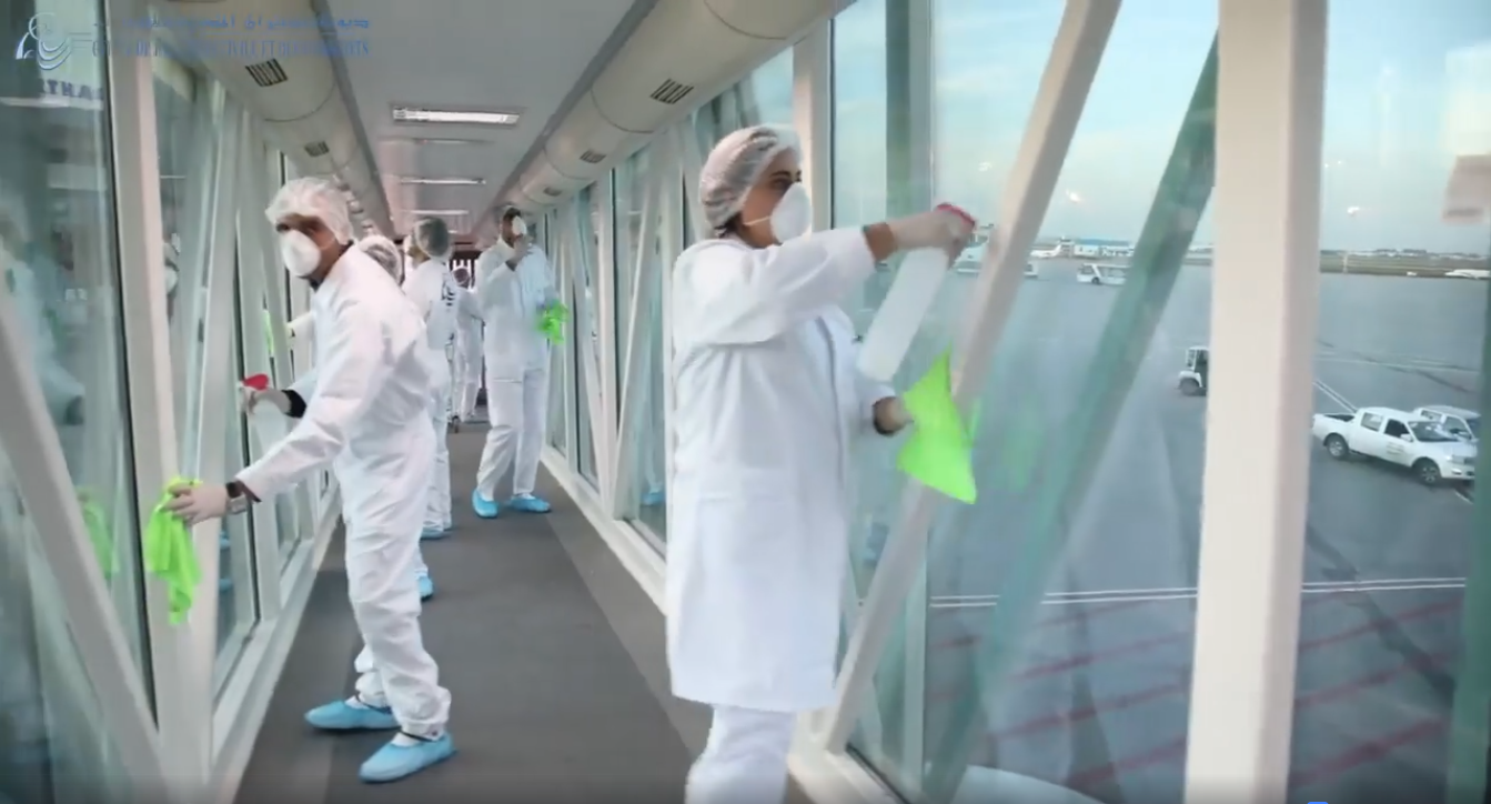 اجراءات تعقيم مطار تونس قرطاج الدولي (فيديو)