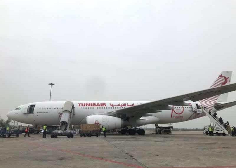 طائرة الخطوط التونسية تغادر الصين محملة باكثر من 5 ملايين كمامة طبية (صور)