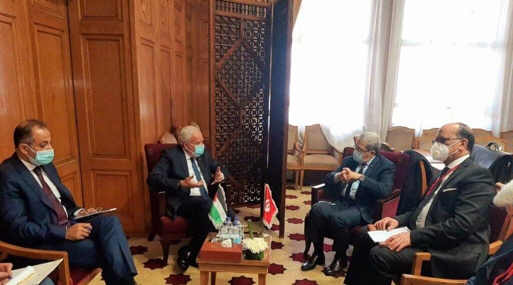 """الجرندي لدى لقائه نظيره الفلسطيني: تونس تدفع في اتجاه إعادة القضية الفلسطينية إلى الساحة الدولية"""""""