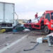 تعطل حركة المرور بالطريق السيارة أ1 على اثر تصادم شاحنتين